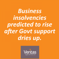 Business insolvencies predicted to rise after Govt support dries up.